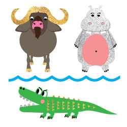 Sparkle in the 'Safari Watering Hole' animal flash tats featuring a water buffalo, hippopotamus and crocodile. The perfect addition to safari themed celebrations!   @FlashTattoos #FUNTATS