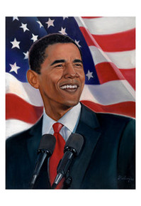 Obama, American Flag Art Print - Sterling Brown