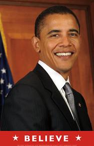Barack Obama - Believe (Flag) Art Poster