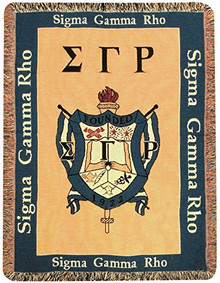 Sigma Gamma Rho Soroity Crest Fringed Tapestry Throw Alumni Mini