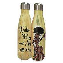 Wake Pray And Sip All Day Stainless Steel Bottle-Kiwi McDowell