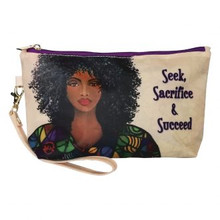 "Seek, Sacrifice and Succeed Cosmetic Pouch-Sylvia ""GBaby"" Cohen"