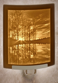LAKESHORE SUNSET Curved Panel Night Light-- Lithophanes