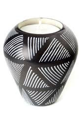 Black Dash Soapstone Tea Light and Taper Candle Holder