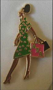 Alpha Kappa Alpha Devoted Greek Lady Diva Lapel Pin