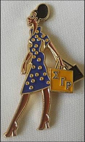 Sigma Gamma RHO Devoted Greek Lady Diva Lapel Pin