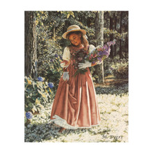Girl Carrying Flowers Art Print-- Melinda Byers