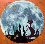 Glow in the dark Cat and Castle shadow on the Moon wall sticker