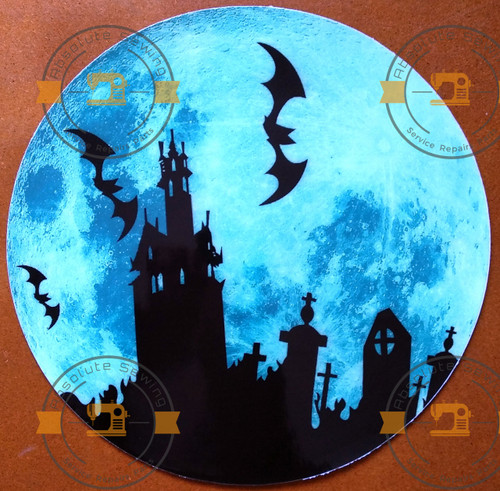 Glow in the dark Bat and Castle shadow on the Moon wall sticker