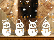 Snowman and snowflakes wall and window vinyl stickers on shop window