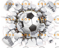 Soccer ball breaking through wall sticker 40 x 50 cm