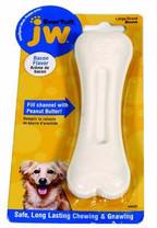 JW Pet Company 46128 EverTuff Bone Bacon Flavored Chew Toy Pets, Large, White
