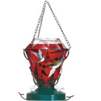 Perky-Pet Decorative Glass Hummingbird Feeder 24oz Hummingbird Edition
