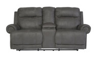 Ashley Austere Gray Reclining Power Loveseat with Console