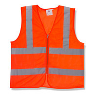 Class 2 Mesh Vest, Orange with Zipper, 1 Pocket