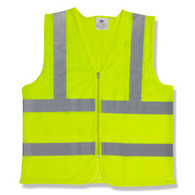 Class 2 Mesh Vest, Lime with Zipper, 1 Pocket