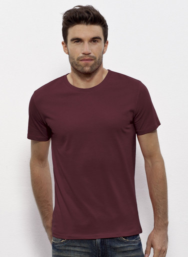 Round Neck Organic Cotton Tee Burgundy