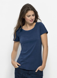 Denim Garment Washed Tee Mid Washed Indigo