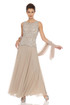 JKARA Embellished Bodice A-Line Chiffon Dress with Sheer Scarf