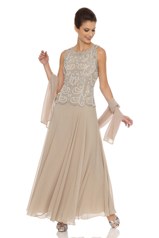 JKARA Embellished Bodice A-Line Chiffon Dress with Sheer Scarf