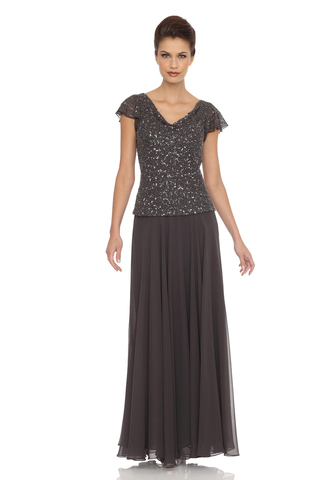Flutter Sleeve Beaded Gown