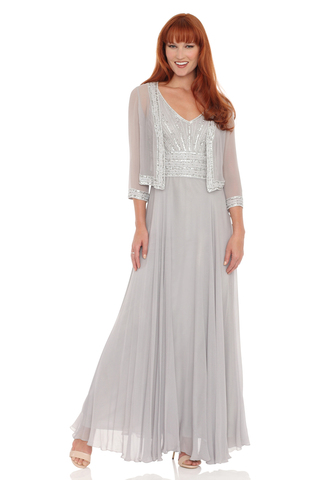 Sleeveless Beaded Chiffon Dress & Jacket