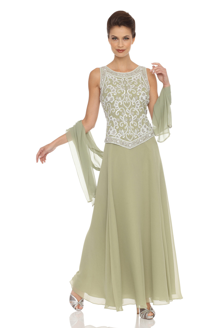 e3fb2ff162 JKARA Embellished Chiffon Dress with Shawl