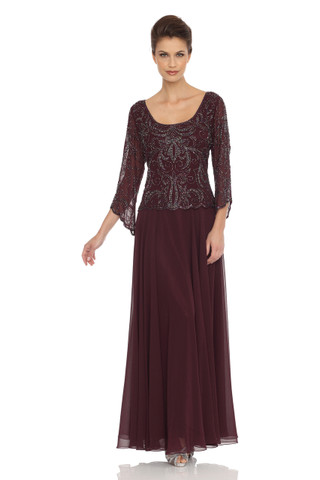Three-Quarter-Sleeve Embellished Overlay Dress