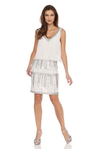 Ivory V-neck silver Beading Dress