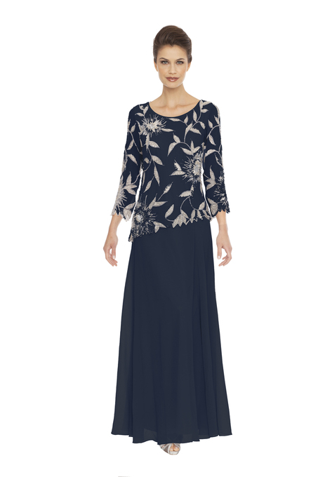 JKARA Floral Beads Three-Quarter Sleeve Dress