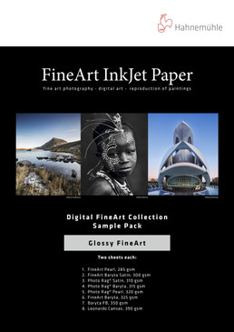 "8.5"" x 11"" Hahnemuhle Glossy Sample Pack 14 sheets"
