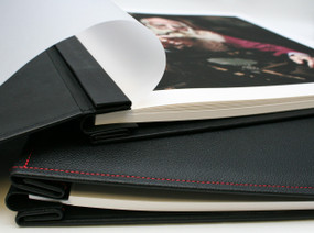 "12"" x 12"" Hahnemuhle FineArt Inkjet Leather Albums black leather cushioned"