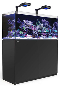 Red Sea Reefer Deluxe XL 425 Aquarium (Black) 112 Gallons with 2 x ReefLED 90 Light Fixtures
