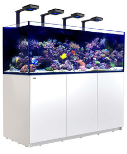 Red Sea Reefer Deluxe XXL 750 Aquarium (White) 200 Gallons with 4 x ReefLED 90 Light Fixtures