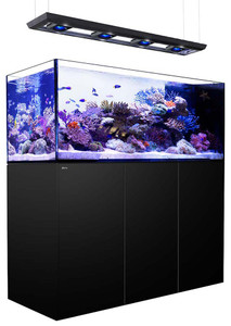 Red Sea Reefer Deluxe Peninsula 650 Aquarium (Black) 140 Gallons with 4 x ReefLED 90 Light Fixtures