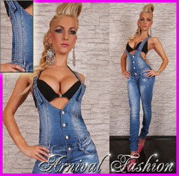HOT JEANS OVERALL LADIES DENIM JUMPSUIT WOMEN PANTS TOP romper SEXY PLAYSUIT AU
