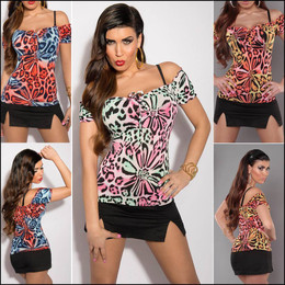 LADIES SEXY PRINT TOPS S M WOMENS CASUAL SHIRT short sleeve BLOUSE off shoulder