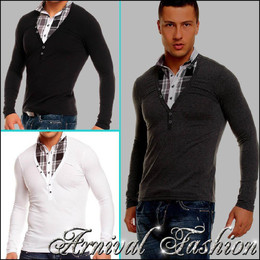 MEN LONG SLEEVE SHIRT slim fit FORMAL TOP MENS FASHION CLOTHING V NECK SIZE S