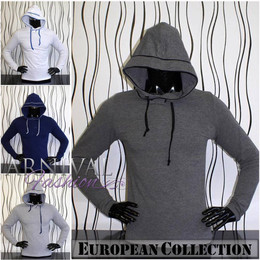 MEN HOODIE SHIRT CASUAL MENS LONG SLEEVE COTTON TOP SLIM FIT PLAIN BLANK size S