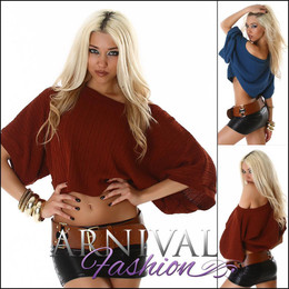 KNITTED CROP TOP JUMPER LOOSE SWEATER BAGGY SLEEVE AU womens OVERSIZED PULLOVER