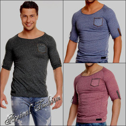 MENS SHORT SLEEVE TEE TOP MEN CASUAL V NECK T SHIRT muscle slim fit PLAIN BLANK