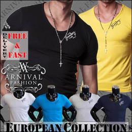 MENS V NECK T SHIRT MEN CASUAL FASHION CLOTHING SHORT SLEEVE TOP SLIM FIT TEE