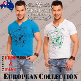 MENS SHORT SLEEVE T SHIRT MEN CASUAL TOPS slim fit V NECK 100 cotton tee SIZE XL