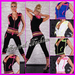 SEXY 2 PIECE TRACK SUIT SET TOP PANTS women ACTIVE WEAR JOGGING GYM WORKOUT YOGA