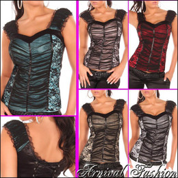 SEXY CORSET LACE TOPS SLEEVELESS SHIRT BLOUSE S M L womens floral top strappy au