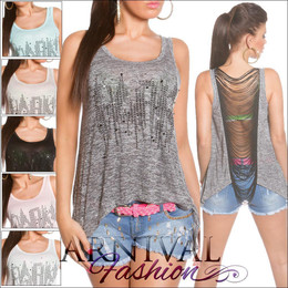 SEXY high low SLEEVELESS LOOSE TOPS S M L XL WOMENS BAGGY SHIRT SUMMER BLOUSE AU
