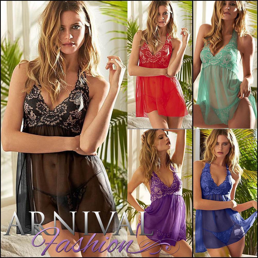 3ce2a4b73b89 SEXY LACE LINGERIE SET babydoll camisole g string set NIGHTWEAR DRESS  panties AU - ARNIVAL