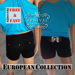 SEXY LADIES CASUAL Black SHORTS 4 6 8 10 WOMENS STRETCH HOT PANTS XS S M BELT AU