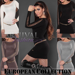 SEXY LONG SLEEVE JUMPER DRESS 6 8 10 12 SWEATERS WOMENS KNITTED TOP XS S M L AU