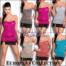 SEXY PADDED POLKA DOT TOPS womens SLEEVELESS CASUAL SHIRT BLOUSE off shoulder AU